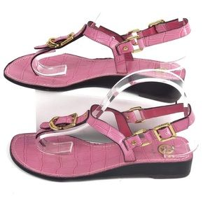 TORY BURCH Pink TRENT crocodile print  Sandals 7.5